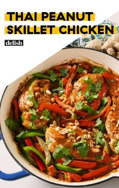 Thai Peanut Skillet Chicken Is So Addicting-Delish Quick Weeknight Dinners, Easy Meals, Asian Recipes, Healthy Recipes, Healthy Meals, Yummy Recipes, Soup Recipes, Healthy Food, Chicken Skillet Recipes