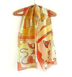 Silk scarf hand painted in red green and yellow. by AHouseAtelier