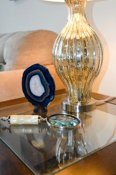 A Close up on details from a side table that we styled.