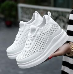 cool Tendance Basket 2017 - Summer White High Heel Women Krasovki Ladies Platform Shoes Female Gumshoe Baske...