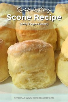 Quick and Easy Scone Recipe (Only 3 Ingredients!) The Links Site is part of Scones recipe easy - This easy scone recipe only requires 3 ingredients! Better still, these scones are so good that you will never need to make scones the hard way again! Snacks, Sweet Recipes, Dessert Recipes, Scone Recipes, Scone Recipe Easy, Easy Biscuit Recipe 3 Ingredients, Scones And Cream Recipes, Recipes Dinner, Scone Recipe With Cream