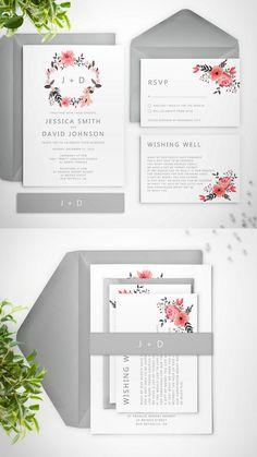 """""""Ella"""" Pink & grey wedding invitation suite by Paper Bound Love"""
