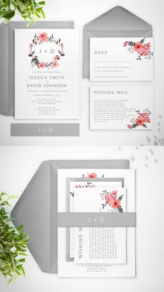 """Ella"" Pink & grey wedding invitation suite by Paper Bound Love"