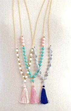 Pastel beaded tassel necklace
