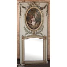 make one like Century French Louis XVI Painted Trumeau Old Mirrors, Mirrors For Sale, Trumeau Mirror, Beveled Mirror, Mirror Mirror, Louis Xvi, Rose Garland, Pet Furniture, French Furniture