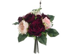 Burgundy & Mauve Rose Bouquet | Online Silk Flowers | Afloral.com
