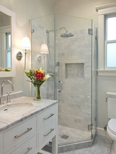 With creative small bathroom remodel ideas, even the tiniest washroom can be as comfortable as a lounge. Perfect-sized sink and countertop with minimalist shower represents the ideal small bathroom one should have.