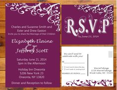 Printable Simply Elegant Wedding Invitation  Purple by WarmTidings, $15.00