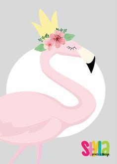 Rose floral pastels flamingo Reine par StylaPrintsAndDesign sur Etsy