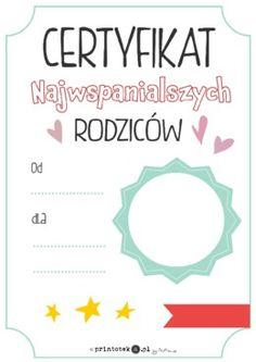 Certyfikat najwspanialszych rodziców - Printoteka.pl