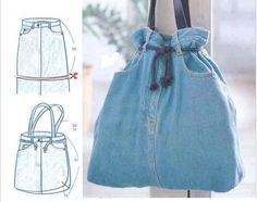 The easiest jeans bag ever. because it uses a denim skirt! Diy Jeans, Love Jeans, Jean Crafts, Denim Crafts, Jean Purses, Denim Handbags, Denim Purse, Denim Skirt, Denim Ideas