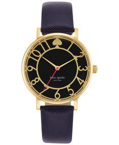kate spade new york Women's Metro Navy Leather Strap Watch 34mm 1YRU0436 - Women's Watches - Jewelry & Watches - Macy's