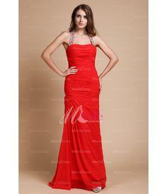 Chiffon Sheath/Column Halter Beading Floor-Length Evening Dresses