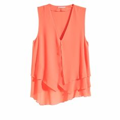 Orange asymmetric v-neck top Orange asymmetric v-neck top. 23 inches long 33 inches wide H&M Tops Camisoles