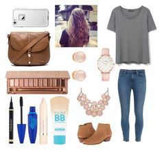 """""""Cute downtown outfit"""" by agrava ❤ liked on Polyvore featuring MANGO, Paige Denim, Jack Rogers, CLUSE, Kenneth Jay Lane, Maybelline, L'Oréal Paris, Urban Decay, Yves Saint Laurent and Foley + Corinna"""