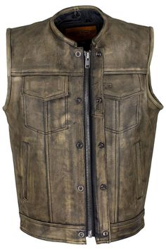 This leather vest is constructed of NAKED cowhide high quality leather. There are two gun pockets inside with Noozle strap. VERY DURABLE LEATHER.      FEATURES: