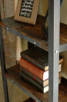 Industrial Wood/steel Shelf With Steel Brackets, Solid Wood Bookcase,  Industrial Shelving,