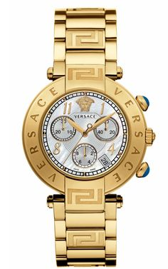 Versace Reve Chronograph Stainless Steel and Gold PVD Watch, Jewelry & Accessories - Bloomingdale's Stylish Watches, Cool Watches, Watches For Men, Casual Watches, Men's Watches, Luxury Watches, Key Jewelry, Jewelry Accessories, Jewelry Watches