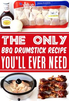 Crockpot Drumsticks, BBQ - Easy Chicken Recipes make dinnertime a breeze, and this will become a fast family favorite! Just 3 ingredients and you're done. Go grab the recipe and give it a try this week! Best Bbq Recipes, Delicious Crockpot Recipes, Barbecue Recipes, Easy Chicken Recipes, Easy Dinner Recipes, Slow Cooker Recipes, Dinner Ideas, Easy Summer Meals, Quick Meals
