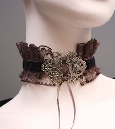 Chocolate steampunk Gothic necklace victorian bumblebee gear neck corset by pinkabsinthe 25.00 USDGreat neck corset. Made of black satin and velvet ribbons