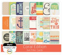 Coral Edition 3x4 Filler Cards - Project Life (for Parker Baby Book)