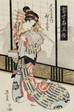 Hitomoto of the Daimonjiya. Ukiyo-e woodblock print, about 1830's, Japan, by artist Keisai Eisen.