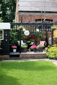 The REVEAL of My Back Garden Patio Makeover! - Swoon Worthy - black shed and pergola patio area with hanging lanterns in pink and green You are in the right place - Diy Pergola, Building A Pergola, Small Pergola, Wooden Pergola, Outdoor Pergola, Outdoor Decor, Pergola Ideas, Outdoor Living, Black Pergola