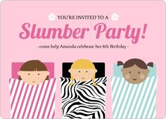 Pink Sleeping Bag Slumber Party Invitaion! #slumberparty #girls #invitation #party #pink