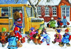 Ready for School~ Pauline Paquin - jigsaw puzzle pieces) Back To School Art, Art School, School Days, Free Online Jigsaw Puzzles, Snow Art, Picture Puzzles, Canadian Art, School Readiness, Art Plastique