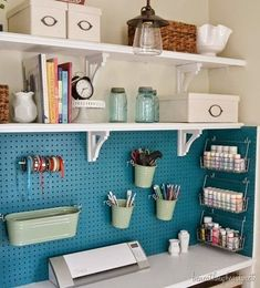 Home Offices Organize This: Small Office Nooks! I love this space. I especially love the pegboard!Organize This: Small Office Nooks! I love this space. I especially love the pegboard! Craft Closet Organization, Craft Room Storage, Organization Ideas, Storage Ideas, Shelving Ideas, Pegboard Craft Room, Storage Shelves, Garage Storage, Ikea Storage