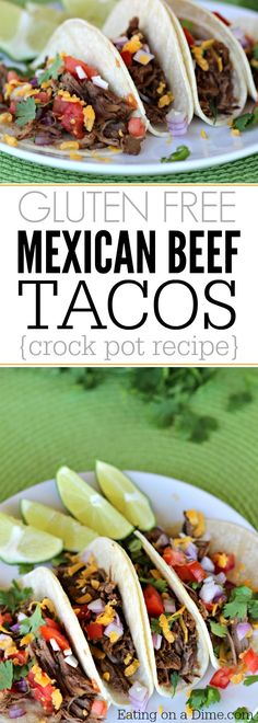 Make this Gluten-Free Crock pot Mexican Shredded Beef Taco recipe with only 5 minute prep time! It is the most amazing shredded beef taco recipe! Shredded Beef Tacos, Mexican Shredded Beef, Slow Cooker Recipes, Mexican Food Recipes, Crockpot Recipes, Casserole Recipes, Pasta Recipes, Soup Recipes, Chicken Recipes