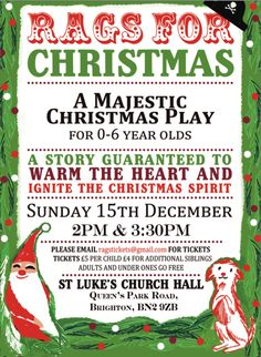 """In Brighton with the family on Sunday 15 December?  """"Rags for Christmas"""" is a majestic Christmas performance aimed at younger children between 0-6 years old.  Feel free to come along and show your support for this community based play."""