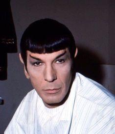 Nimoy in the makeup chair. Leonard Nimoy, Star Wars, Star Trek Tos, Star Trek Uniforms, Start Trek, Star Trek 1966, Star Trek Original Series, Sci Fi Shows, William Shatner