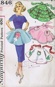 Vintage Fancy Holiday Apron Sewing Pattern 1960s Simplicity 1846 One Size Cut | eBay