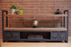 Mueble Tv Lcd Led Industrial Vintage- Rack Madera Y Hierr - $ 7.280,00 en Mercado Libre