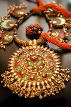 Antique gold and silver jewellery on display at Tholia Kuber jellwery store on MI road, Jaipur.