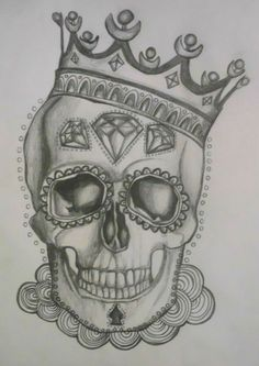 new school skull with crown tattoo designs - Saferbrowser Yahoo Image Search Results Skull Candy Tattoo, Candy Skulls, Sugar Skull Tattoos, Sugar Skull Art, Sugar Skulls, Sugar Skull Drawings, Sugar Skull Sleeve, Neue Tattoos, Body Art Tattoos