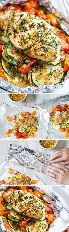 These honey dijon chicken and veggies foil packs make for a savory and nourishing dish, perfect for a quick and healthy dinner. Chicken breasts seasoned in a honey-mustard sauce are baked in foil t… (Chicken Marinade For Pasta) Foil Pack Meals, Foil Dinners, Healthy Eating Tips, Healthy Drinks, Healthy Recipes, Healthy Nutrition, Drink Recipes, Healthy Food, Dinner Healthy