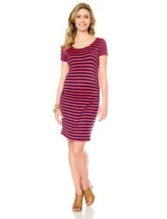 Jessica Simpson Short Sleeve Striped Maternity Dress