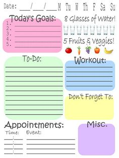 daily planner w/ water and fruit/veg reminder. I've been wanting to put one of these together.....well, now I don't have to!