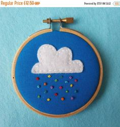 25% OFF, Cloud and Rainbow Rain Embroidery Hoop Art. Miniture, 3 inch Hand Embroidered Hoop to Hang on a Wall. Cute Art. Weather Art. Kids D