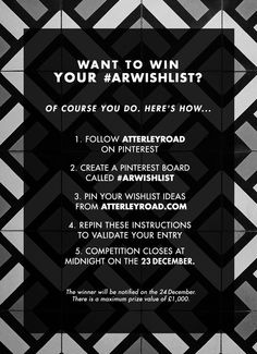 Pin to Win a £1,000 #ARWishlist @atterleyroad