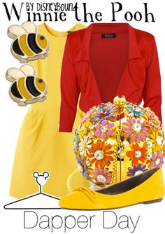 Winnie the Pooh Outfit<3 totally have a yellow dress and red blazer