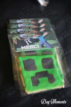 Anniversaire Minecraft » Day Moments Petits sablés,  cadeaux d'invités
