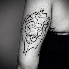 Lion Back Of Arm Line Design Tattoos For Men