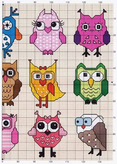 Owls (2 of 2) -- free cross stitch pattern: