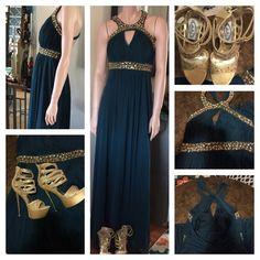Betsy & Adam Sz 4- Emerald & Gold Jewel Prom Dress This is a Sz 4 emerald green and gold jeweled halter style evening/prom dress.    Only worn once to the Marine Corp Ball.    Selling with shoes ( no one has another place to wear 6 inch gold platforms) Betsy & Adam Dresses Maxi