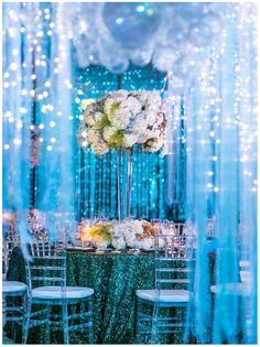 Eliana's Bat Mitzvah, The Island Hotel Newport Beach | Details Details - Wedding and Event Planning, tall centerpieces, sequin green, ocean, aquarium, theme, bubbles, pretty, fun, cute, Bat Mitzvah, floral arrangements