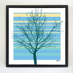 "Overflow series: ""Tree Naked"" 24 x 24 inch, digital art & gloss and matte gel on stretched canvas. 26.5 x 26.5 inch, float frame - black flat. ---------------------------------------- #popart #popartist #digitalart #art #artist #contemporaryart #colorfield #abstractart #gloss #matte #art #canvas #jonsavagegallery"