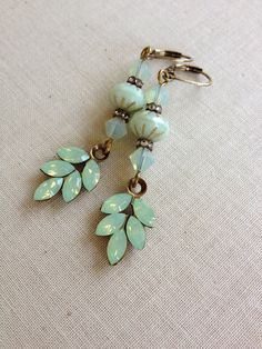 Swarovski light sage opal rhinestone leaf earring, mint, sea foam, jewelry, earring, dangle, drop, simple rhinestone earring, celery, bridal